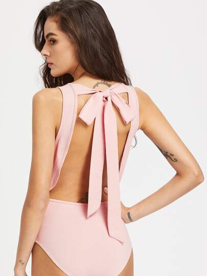 Scoop Neck Bow Tie Open Back Tank Bodysuit