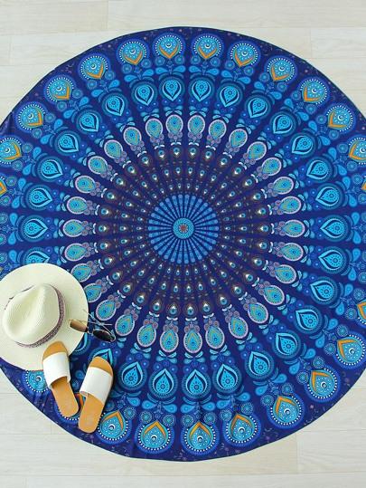Blue Printed Vintage Round Beach Blanket