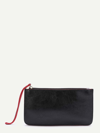 Black Contrast Trim Zipper PU Wallet