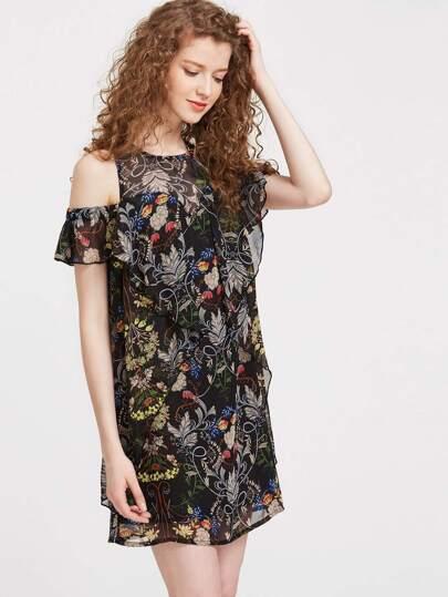 Black Floral Open Shoulder Ruffle Dress