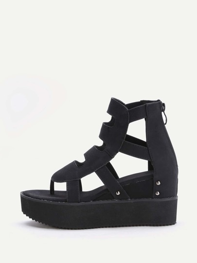 Black Cutout Toe Post Flatform Sandals