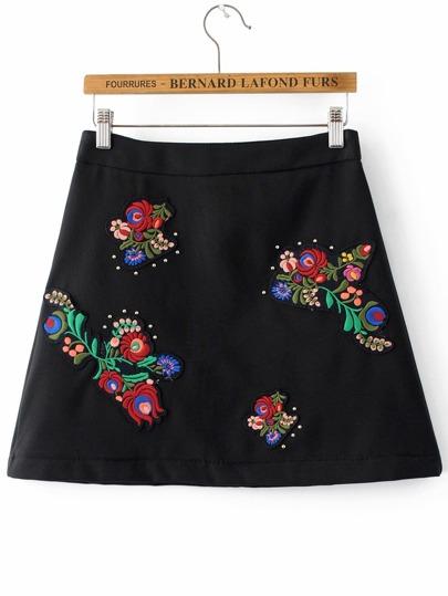 Falda con bordado espalda con cremallera línea A - negro
