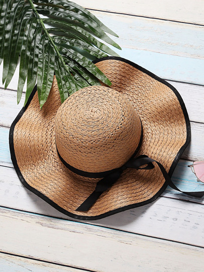 Camel Bow Tie Design Wide Brim Straw Hat