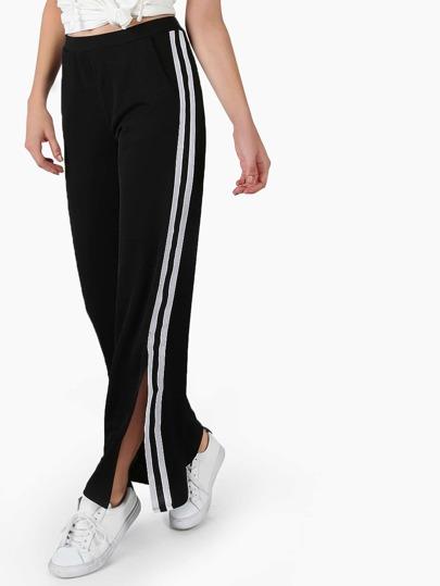 Sport Wide Leg Trainer Pants BLACK