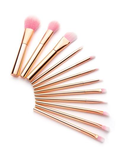 Ensemble de brosse de maquillage délicat en or