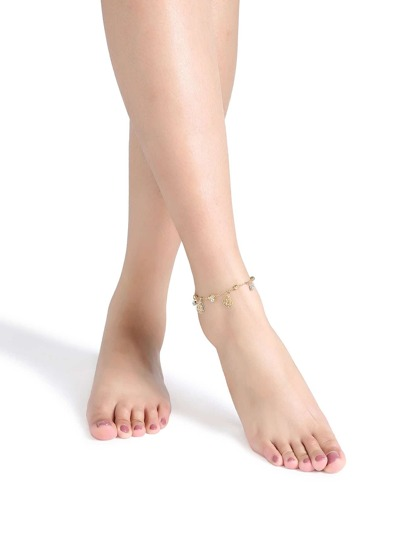Gold Chain Floral Charm Anklet