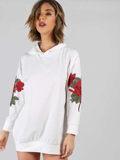 Rose Applique Drop Shoulder Oversized Hoodie Dress