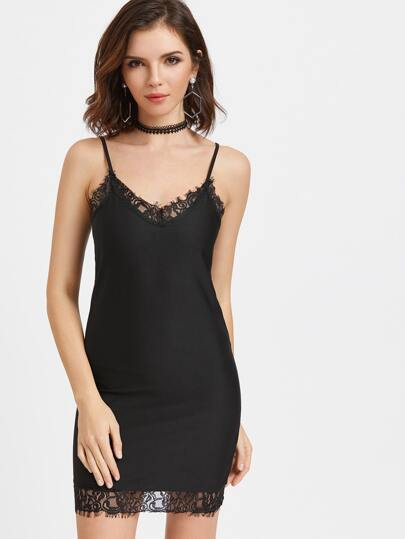 Black Contrast Eyelash Lace Slip Dress