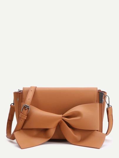 Brown Bow Detail Flap Shoulder Bag