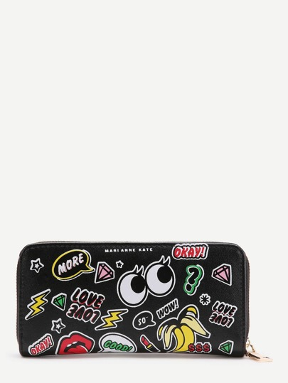Black Cute Eye Print Zipper Wallet