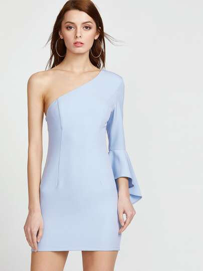 One Shoulder Trumpet Sleeve Princess Seam Bodycon Dress