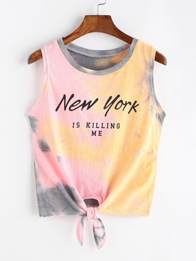 Tie Dye Slogan Print Knotted Hem Crop Tank Top