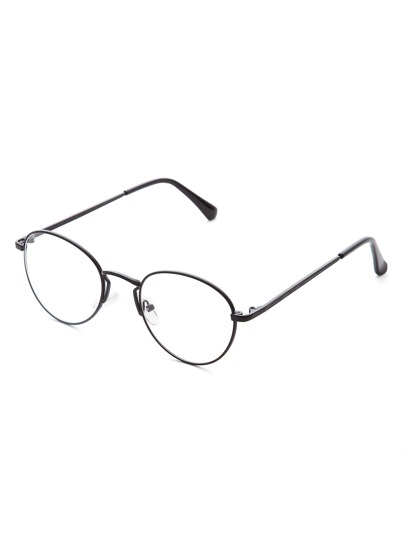 Black Clear Lens Round Glasses