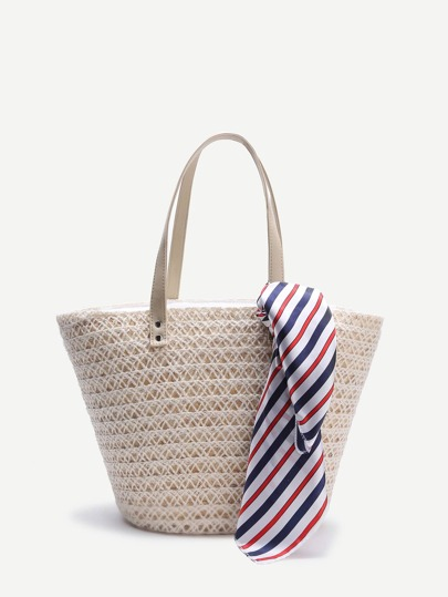 White Tote With Striped Scarf