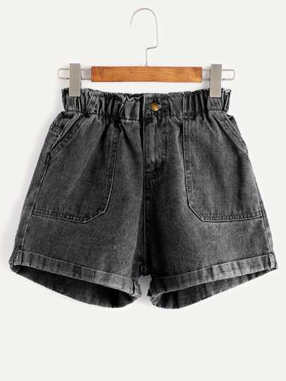 Elastic Waist Roll Hem Denim Shorts