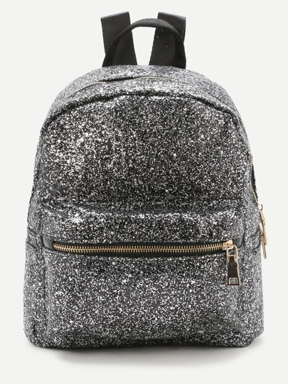 Sliver Front Zipper Glitter Backpack