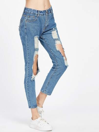 Blue Cut Out Ripped Ankle Jeans