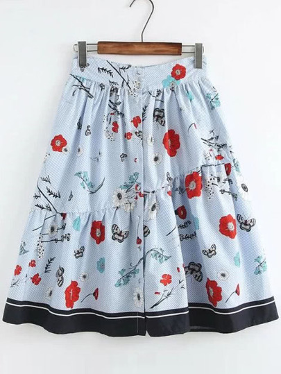Blue Flower Print Striped Contrast Hem A Line Skirt