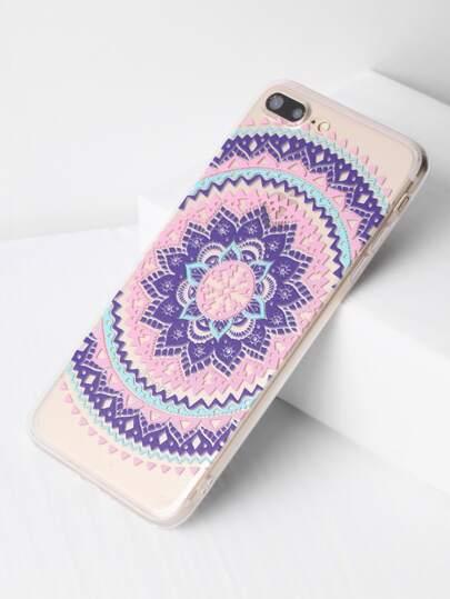 Funda para iPhone 7 Plus transparente con estampado de flor