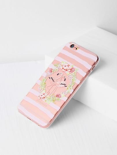 Funda para iPhone 6/6s transparente con estampado de flor y pájaro