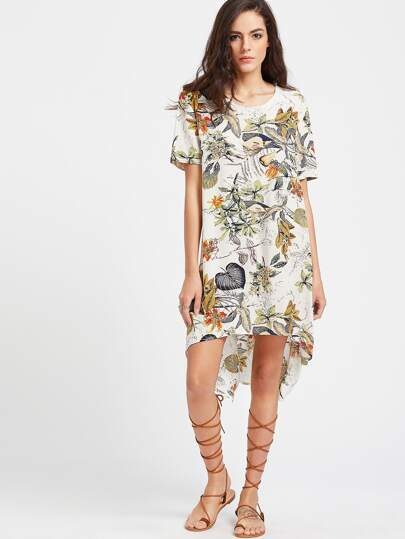 Tropical Print Dip Hem Tunic Dress