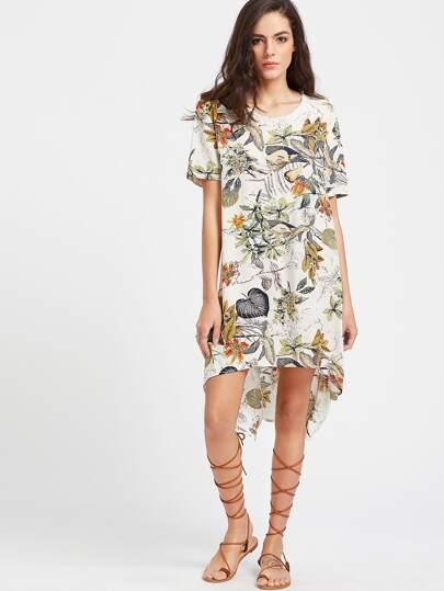 Tropical Print Dip Hem Tunic Dress