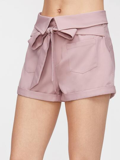 Fold Over Tie Front Roll Hem Shorts