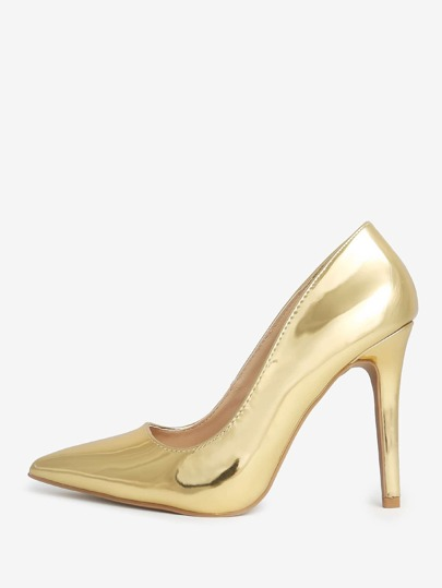 Metallic Pointy Toe Heels GOLD