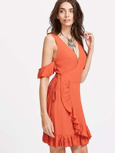 Orange Cold Shoulder Surplice Wrap Ruffle Dress