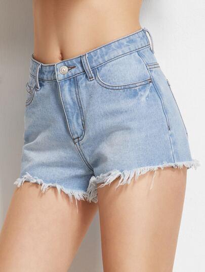 Shorts effetto di lavaggio del denim sfilacciata - blu