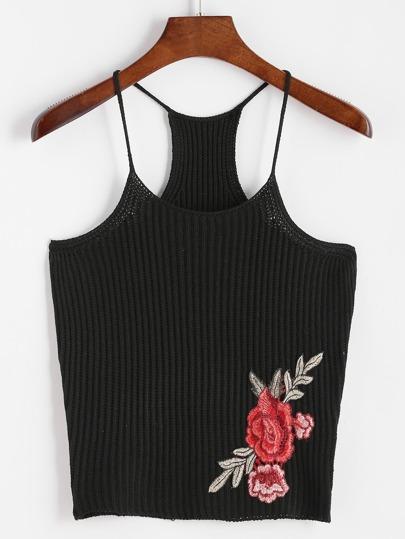 top tricot avec le patch rose - noir