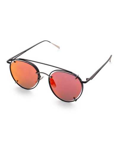 Red Lens Double Bridge Sunglasses