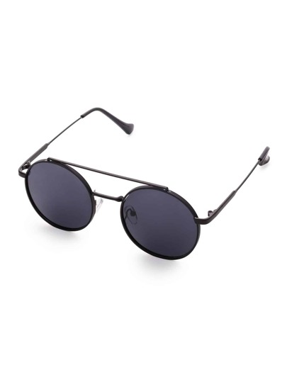 Black Frame Flat Lens Double Bridge Round Sunglasses