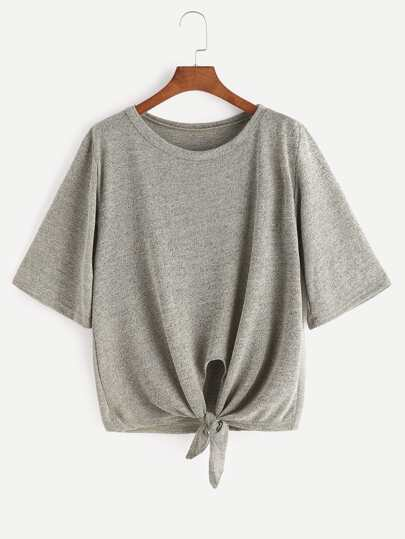 Heather Grey Elbow Sleeve Knot Hem T-shirt