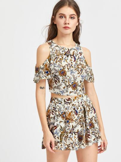 Self Tie Open Back Floral Top And Box Pleated Shorts Set