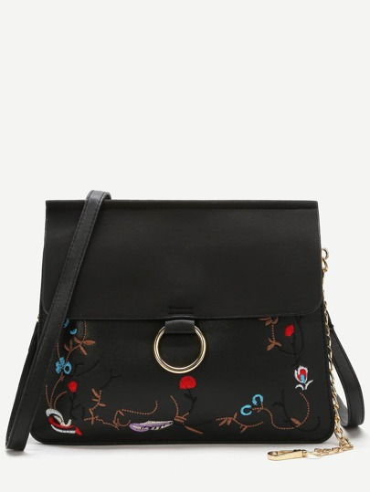 Black Embroidery Flap Shoulder Bag With Chain Detail