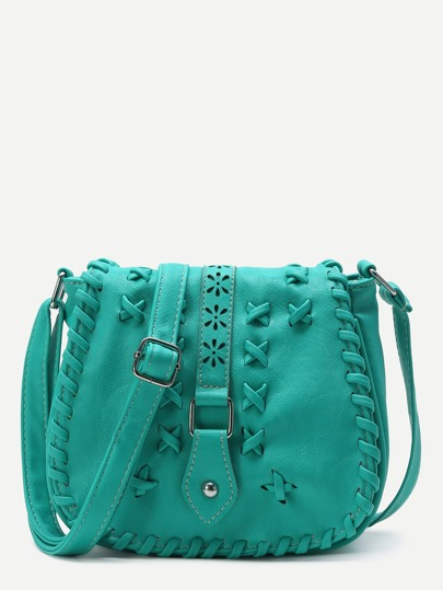 Turquoise Criss Cross Detail Buckle PU Saddle Bag