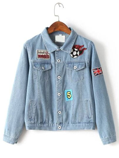Single Breasted Patch Detail Denim Jacket