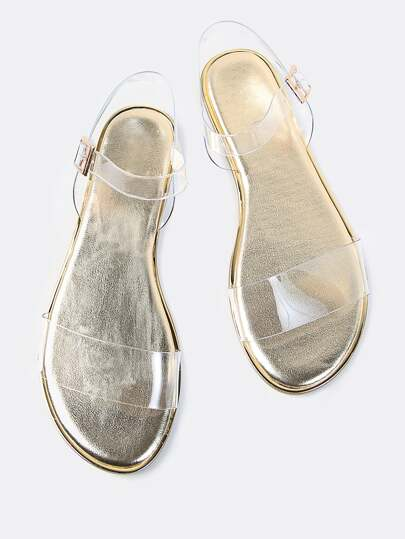 Double Clear Strap Metallic Sandals GOLD