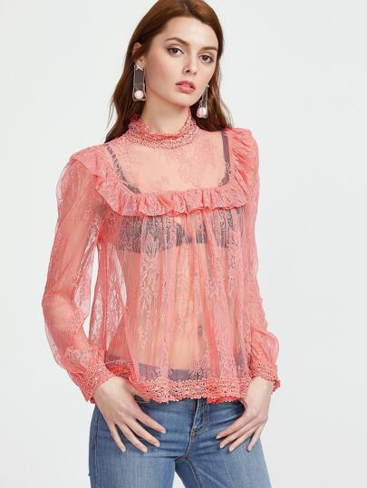 Crochet Trim Ruffle Sheer Floral Lace Top