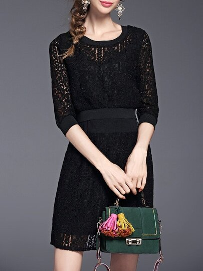 Black Crew Neck Sheer Top With Lace Skirt