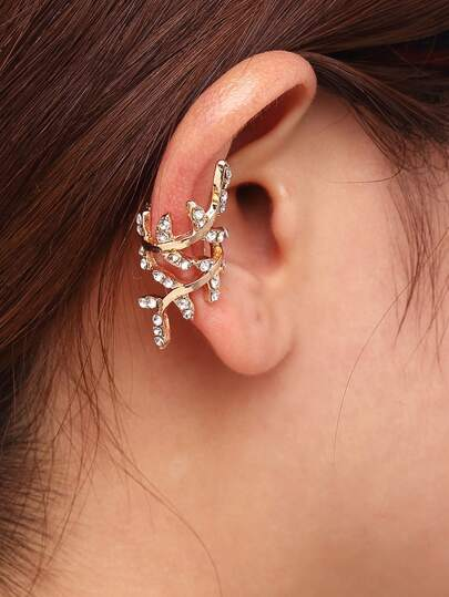 Gold Rhinestone Leaf Shape Ear Cuff