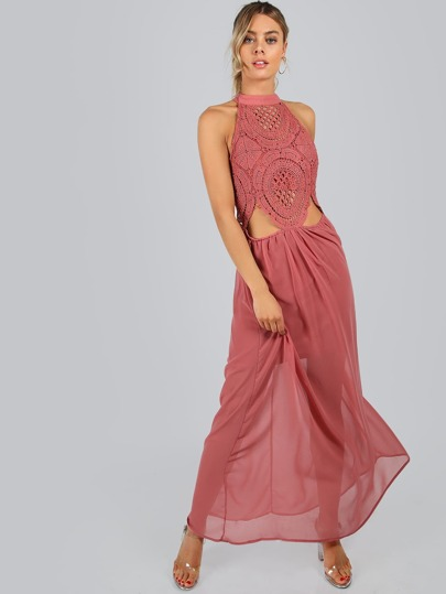 Crochet Cut Out Maxi Dress ROSE