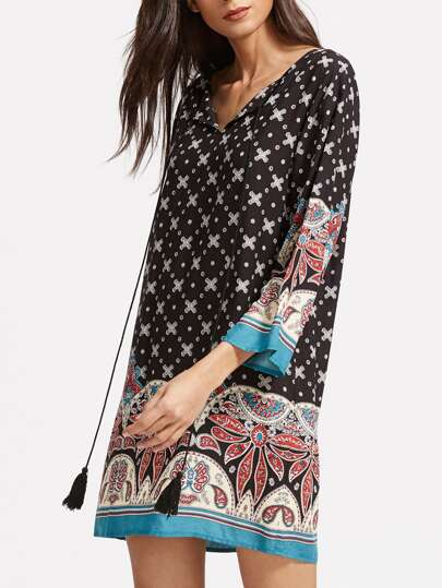 Ornate Print Tassel Tie Neck 3/4 Sleeve Tunic Dress
