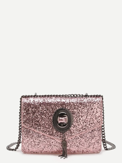 Pink Sequin Overlay Chain Bag With Tassel
