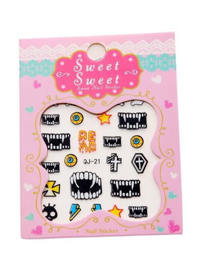 Vampire Tooth Pattern Nail Sticker