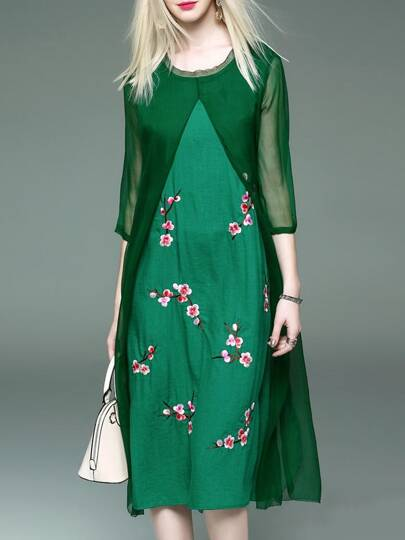 Green Flowers Embroidered Shift Sheer Dress