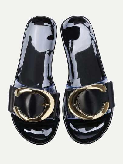 Black Open Toe Clear Detail Flat Sandals