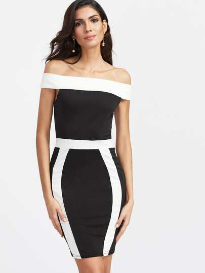 Color Block Off The Shoulder Sheath Dress