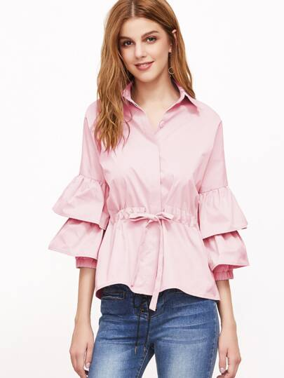 Hidden Placket Layered Fluted Sleeve Drawstring Waist Blouse